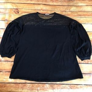 Zara Black Long Sleeve Blouse with Sheer Top Small